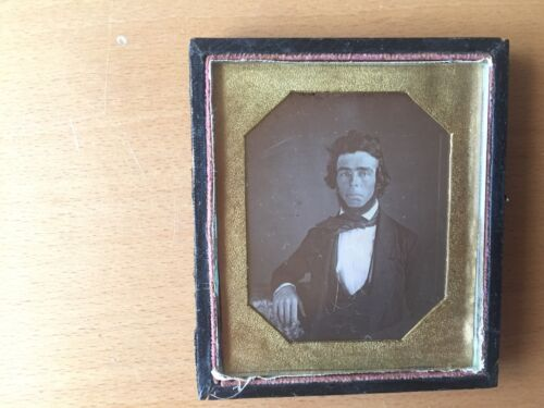 DISTINGUISHED GENT DAGUERREOTYPE: Bearded Sophisticated Man Sixth Plate Dag