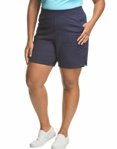 """Just My Size Pull-On Women's Shorts Cotton Jersey Plus 7"""" Inseam Size 1X-5X"""