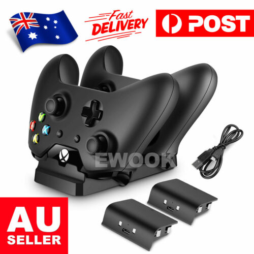 2 USB Rechargeable Battery + Dual Controller Charger Dock for Microsoft XBOX ONE
