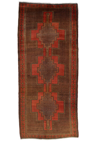 Vintage Persian Koliai Design Rug, 5'x11', Charcoal/Red, All wool pile