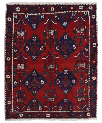 Vintage Tribal Oriental Qashqai Rug, 5'x6', Red/Blue, Hand-Knotted Wool Pile