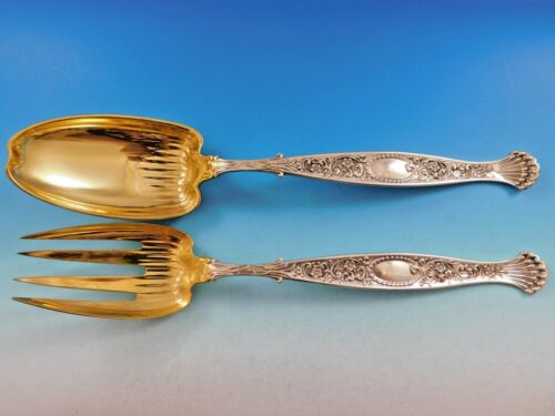 "Hyperion by Whiting Sterling Silver Salad Serving Set Gold-wash Long 12"" Fluted"