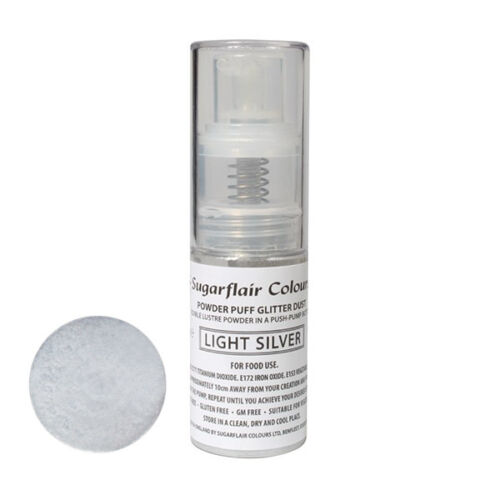 Sugarflair Powder Puff Edible Glitter Spray bez aerozolu 10g - LICHT ZILVER