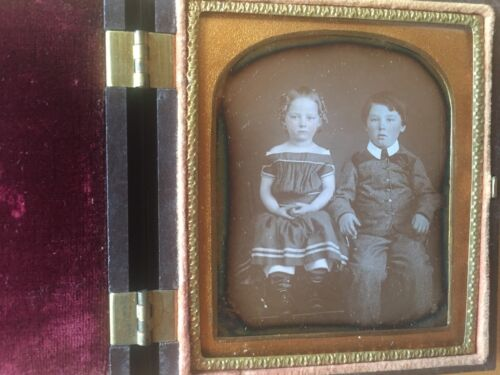 GREAT GUTTA PERCHA: Daguerreotype of Brother and Sister in Thermoplastic Case