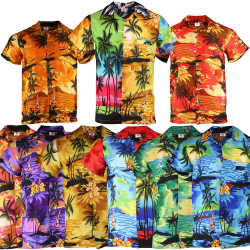 HAWAIIAN SHIRT MENS STAG BEACH PALM TREE STAG PARTY LARGE ALOHA HAWAII S XL XXL  <br/> KIDS SIZE TO 5XL - 9 COLOURS **UK SELLER**FAST DISPATCH