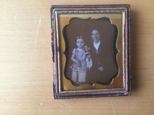 GREAT CHILD WITH TOY DAGUERREOTYPE: Girl, Her Mother and Her Doll Daguerreotype