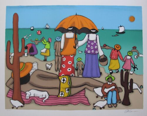 "ELKE SOMMER ""On the Beach"" Hand Signed Limited Edition Serigraph Folk Art"