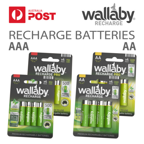 Size AA , AAA Wallaby Rechargeable Ni-MH Batteries 4/8/32 Qty FAST POST 4 Pack