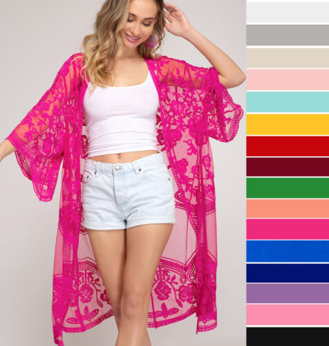 S M L Embroidered Lace Kimono Sleeve Open Front Cardigan Jacket Long Midi Duster
