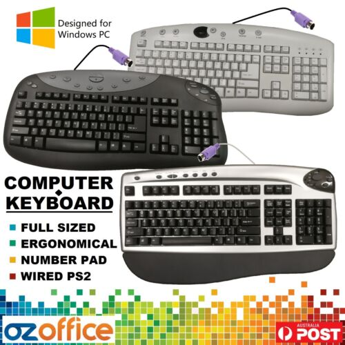 Professional Computer Keyboard Office Keyboard Wired PS2 Number Pad Windows PC
