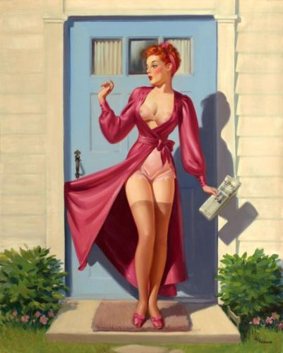 """Vintage Pin Up Illustration Caught in the Door 11 x 14""""  Photo Print"""