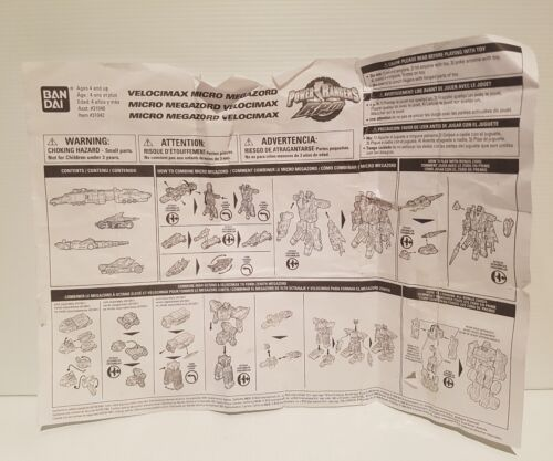 Velocimax micro megazord power rangers  instructions booklet only replacement