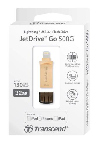 Transcend JetDrive Go 500 32GB USB 3.1 Flash Drive with Lightning Gold, 130MB/s