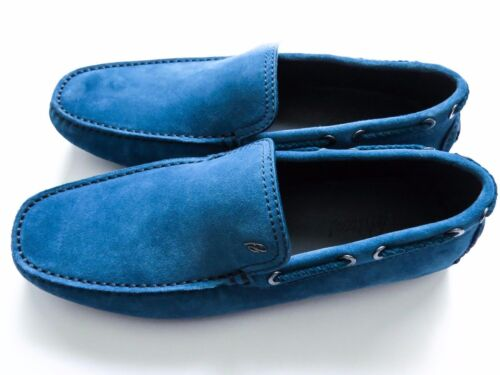 $750 BRIONI Light Blue Suede Shoes Loafers Moccasins Size 10 US 43 Euro 9 UK