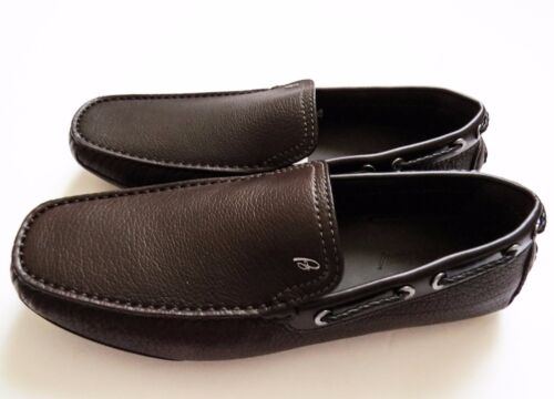 $895 BRIONI Brown Grain Leather Shoes Loafers Moccasins Size 8 US 41 Euro 7 UK