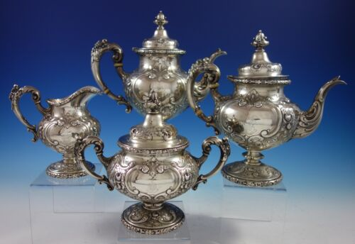 Flora by Reed & Barton Sterling Silver Tea Set 4pc #575A (#2851) Antique
