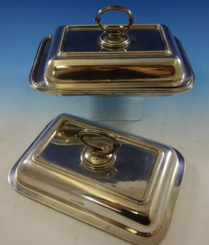 Bead by Walker & Hall Sterling Silver Covered Vegetable Dish & Extra Cover #2645