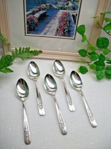 5   Oneida  Wm A Rogers  Wild Rose  CELEBRITY  Silverplate Teaspoons   1939