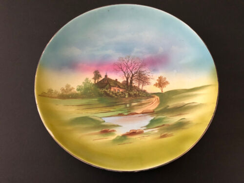 Antique EMPIRE WORKS E.P. Co Stoke on Trent England Hand Painted Landscape Plate