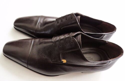 $1800 STEFANO RICCI Brown Oxford Grain Leather Shoes Size 9 US 42 Euro 8 UK