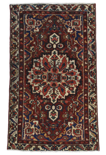 Vintage Tribal Oriental Bakhtiari Rug, 4'x6', Red/Ivory, Hand-Knotted Wool Pile
