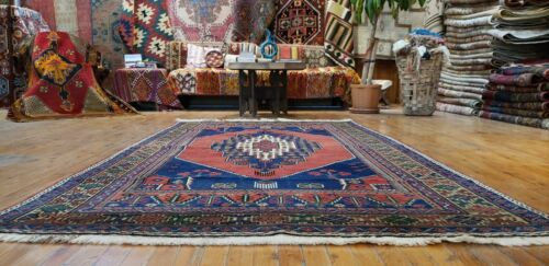 """Antique 1930-1940s Natural  Dyes 4'8""""x8'2"""" Wool Pile Dowry Rug Ihlara Valley"""