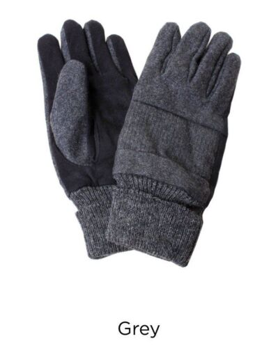 Ribbed Men's Wool Gloves w/ Leather Like Gray Size S/M/Large Thinsulate NEW Warm