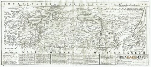 1714 ANONYMOUS map HOLY LAND - ISRAEL JERUSALEM - PALESTINA Antique Original