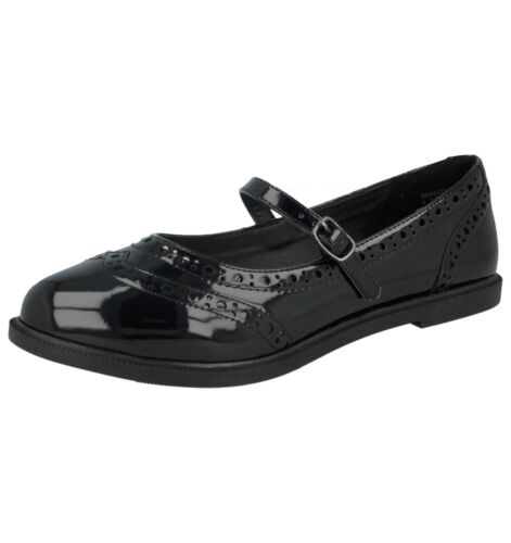 Ladies Black Patent Flat Mary Jane Dolly Pumps Oxford Buckle Work School Shoes
