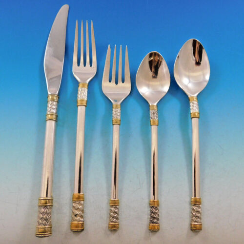 Aegean Weave Gold by Wallace Sterling Silver Flatware Set 8 Service 40 pieces