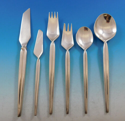 Trenza by Celsa Mexico Sterling Silver Flatware Set Service Mid Century Modern