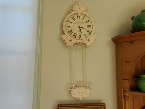 Antique style shabby chic metal wall clock