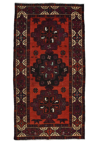 Vintage Tribal Oriental Luri Rug, 5'x9', Red/Ivory, Hand-Knotted Wool Pile