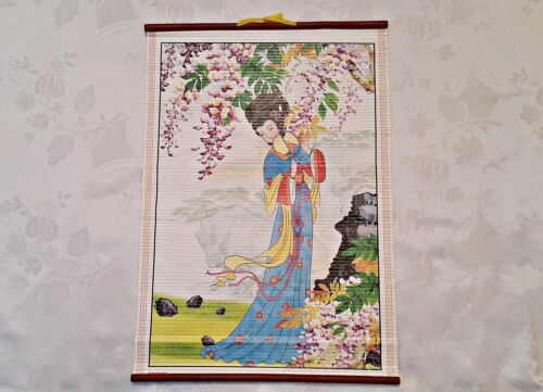 VINTAGE AUTHENTIC JAPAN ART GEISHA WHITE BLUE PAPER WALL TAPESTRY