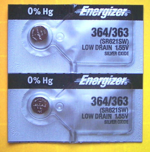 2 Energizer 364 363 SR621SW SR621SW Silver Oxide Watch Battery 1.55V