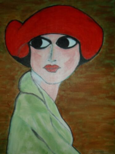 Red Hat Lady by Rodster 11 X14 Original Acrylic Painting