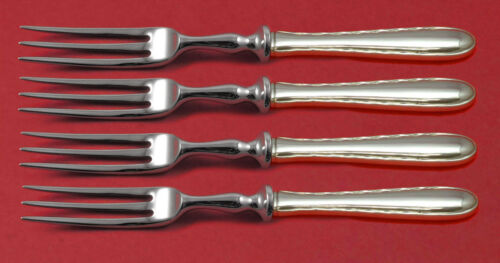 """Silver Flutes by Towle Sterling Silver Fruit Fork Set 4-piece Custom Made 6"""""""