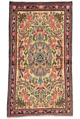 Vintage Oriental Malayer Rug, 3'x5', Beige/Blue, Hand-Knotted Wool Pile