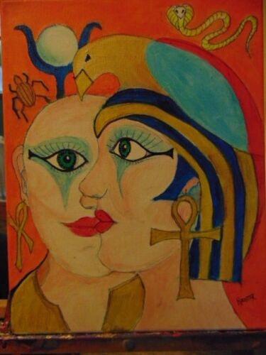 Egyptians by the artist Rodster 11X14 Improved Original Acrylic Canvas - Fauvism