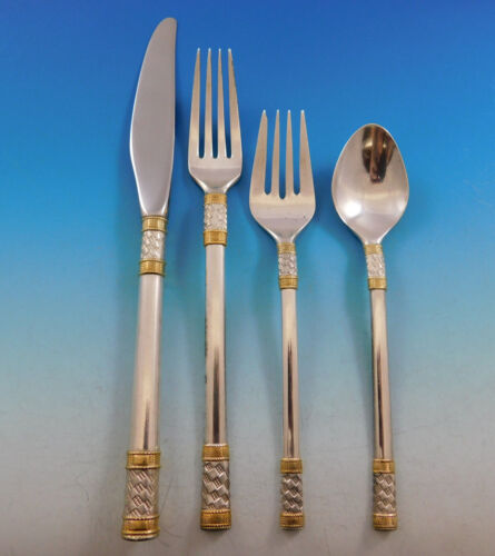Aegean Weave Gold by Wallace Sterling Silver Flatware Set 12 Service 48 pieces
