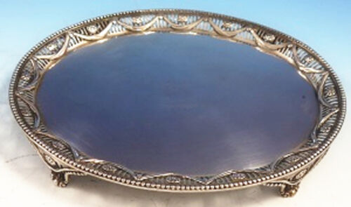 Joseph Cadduck English Sterling Silver Salver Tray Oval Footed Swags Beads #3041