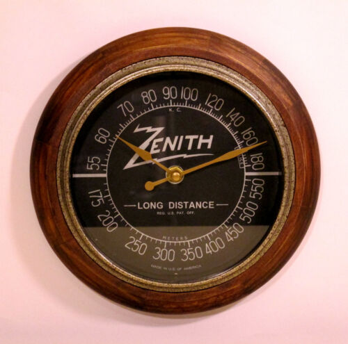 Old Antique Style Zenith Black Dial Wall Clock - New Clock with Tube Radio Style