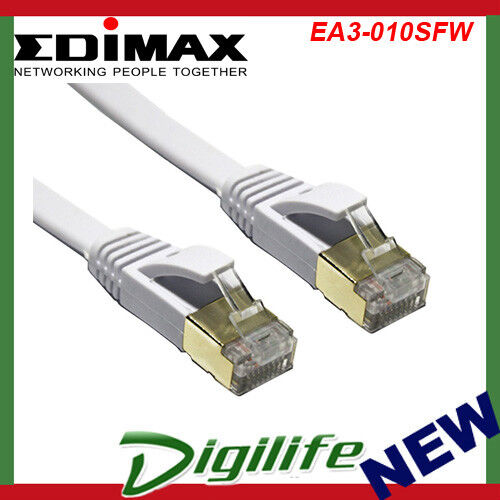Edimax 10GbE 1m Shielded CAT7 Network Cable Flat White EA3-010SFW