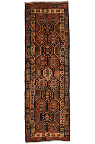 Vintage Tribal Oriental Qashqai Runner, 4'x12', Red, Hand-Knotted Wool Pile