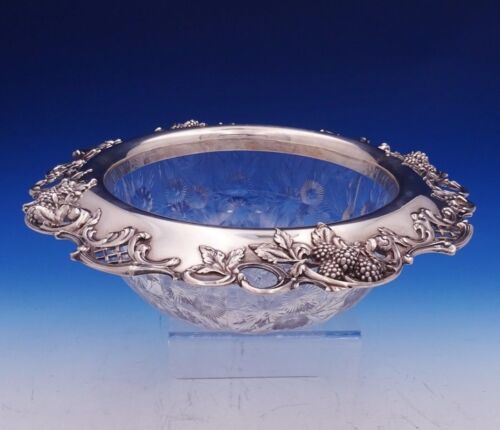 Blackberry by Tiffany and Co Sterling Silver Fruit Bowl w/Cut Glass Leaves #3088