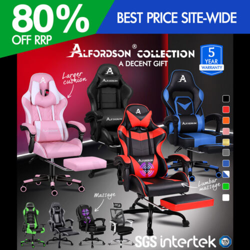 ALFORDSON Gaming Office Chair Racing Executive Footrest Computer Seat PU Leather <br/> 5% off with Code PLAID5, more codes in Description