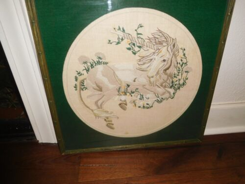 VINTAGE MID CENTURY EMBROIDERED CROCHETED UNICORN GREEN BAMBOO FRAMED MYTHICAL