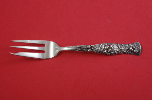 """Flora by Shiebler Sterling Silver Pastry Pie Fork 3-tine Heavy 7"""""""
