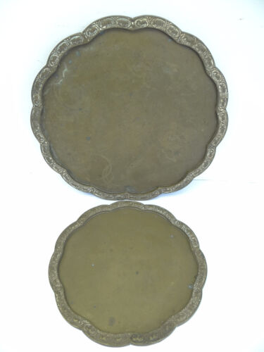 Two Chinese Old Rhino Elephant Decorative Brass Metal China Serving Trays Stands