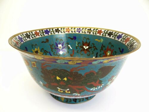 Chinese Dynasty Display Bowl Brass Enamel Cloisonné Large Serving Antique Old